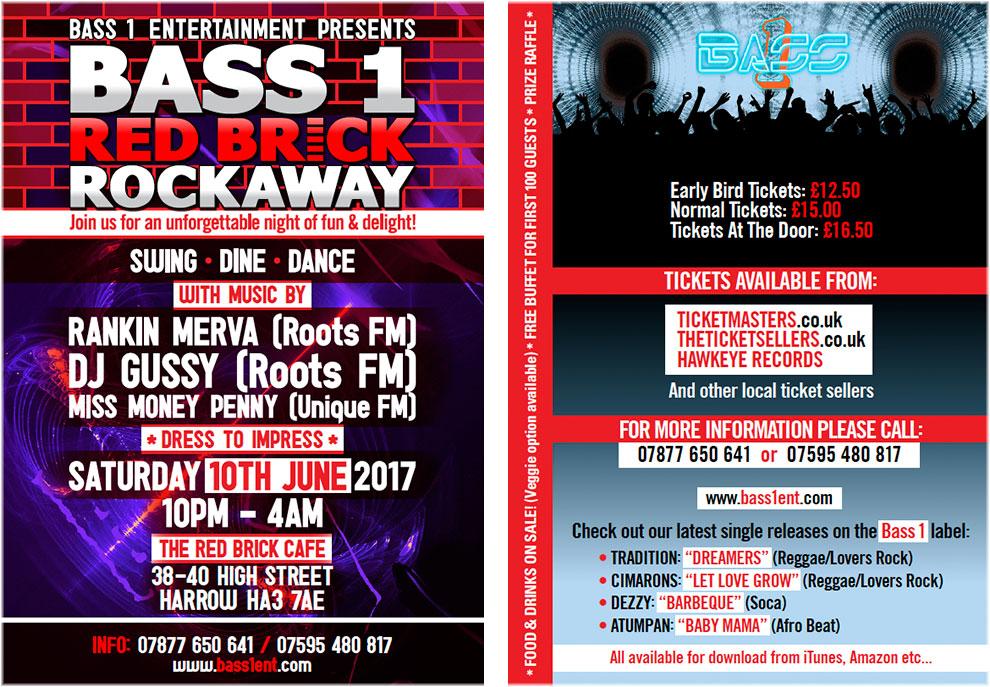Bass 1 Entertainment Red Brick Rockaway flyer