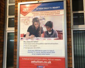 Train station billboard advert for Accelerated Education Tuition