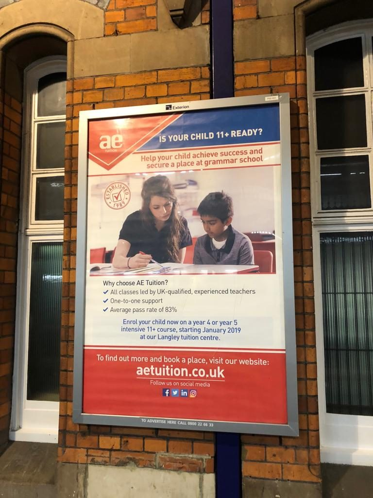 Train Station advert for AE Tuition